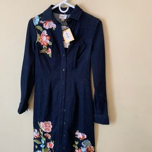 Shirt Style Denim Dress with Floral Embroidery